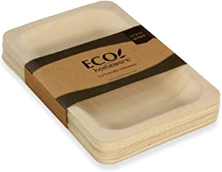 """Disposable Wood Plates 7.5"""" x 5.5"""" – 50Pk. Natural Eco-Friendly Alternative to Plastic and Styrofoam that is Compostable and Biodegradable. Great for Parties, Weddings, Entertaining & Catering"""
