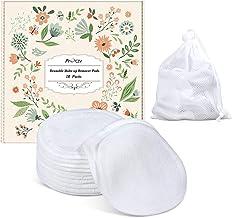 Reusable Makeup Remover Pads - Organic Cotton Rounds Soft Bamboo Toner Pads with Laundry Bag, 18 Pcs