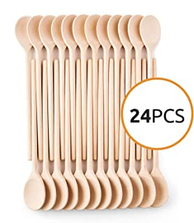 12- Inch Wooden Kitchen Spoons Baking Mixing Serving Craft Utensils Bulk Oval Spoon Puppets Long Handle Beechwood - Set of 24 - MR. WOODWARE