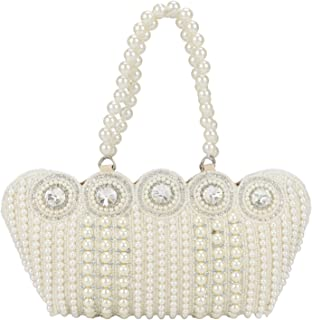 Small Cutest Vintage Style Pearl Tote Bag Wrist Bag Evening Clutch Wedding Purse for Women & Girls
