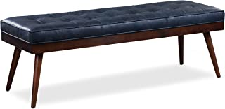Poly and Bark Luca Leather Modern Bench Seat (Midnight Blue)
