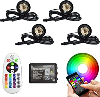 4pc 108W COB LED Boat Light RGB bluetooth LED Boat Lights with Bluetooth Controller,DIY,Music Mode - 4 Pods Ip68 Water-proof Marine Boat Drain Plug LED Light Underwater Lights Waterproof Boat light