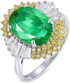 ButiRest - Anello in oro bianco 18 carati 750, 18 carati, con quattro artigli ovali, 2,66 carati, smeraldo VS e diamante 0...