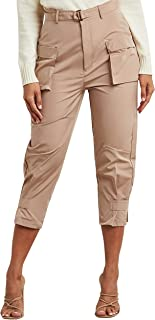 Self Belt Cargo Pants with Button Cuff Detail For Women Closet by Styli