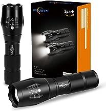 [2 PAQUETE] LED Linterna táctica de 5 modos, lumen alto, zoomable, resistente al agua,luz de mano - Lo mejor para acampar, senderismo, pasear con perros