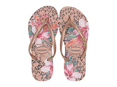 Havaianas Kids Slim Animal Floral (Toddler/Little Kid/Big Kid) (Crocus Rose) Girls Shoes