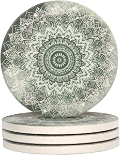Lahome Mandala Coasters - Round Drinks Absorbent Stone Coaster Set With Ceramic Stone and Cork Base for Kinds of Mugs and Cups (Mandala, 4)