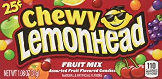 Chewy Lemonhead Fruit Mix Candy Boxes, Assorted Flavors, 1.08 Ounce Each (Pack of 24)