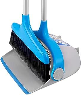 MR.SIGA Upright Broom and Dustpan Set, Blue&Gray