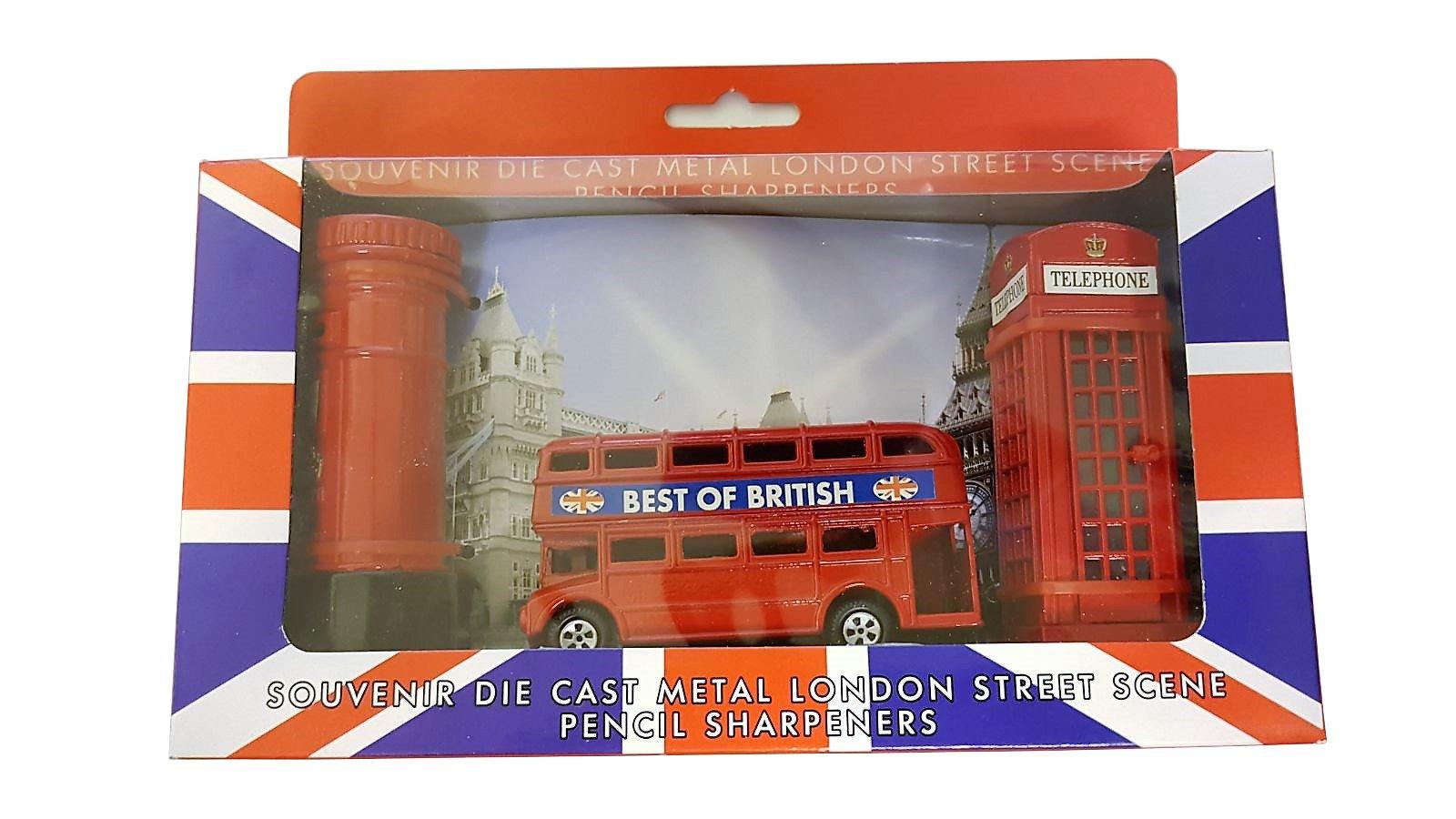 Londres calle escena - Juego de 3 sacapuntas Metal fundido/rojo caja de teléfono/Routemaster/de autobús de dos pisos caja de correos británica/ UK Souvenir/Unión Jack Box/para escuela oficina casa: Amazon.es: Oficina y papelería
