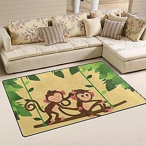 WellLee Animal Area Rug,Jungle Monkeys Playing Swing Floor Rug Non-Slip Doormat for Living Dining Dorm Room Bedroom Decor 31x20 Inch