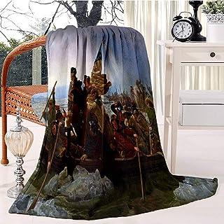 Washington Crossing The Delaware Painting Emanuel Gottlieb Leutze Bed Blanket Plush Velvet Soft Warm Blanket Lightweight M...
