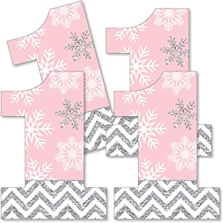 Big Dot of Happiness Pink Onederland - One Shaped Decorations DIY Snowflake Winter Wonderland First Birthday Party Essentials - Set of 20