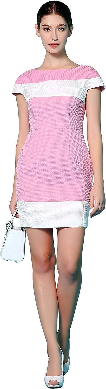 Niteo Women's Designer Chic Cocktail Dress - Pink and White Cap-Sleeve Fashion