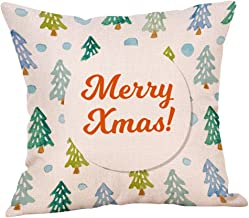 Unionm 71# Pillow Covers Christmas Decor Throw Pillow Case Flax Christmas Bell Tree Gift Merry Christmas Theme Square 45 x 45 cm 18 x 18 inch Cushion Cover for Home Sofa Car 1 Pack - 5