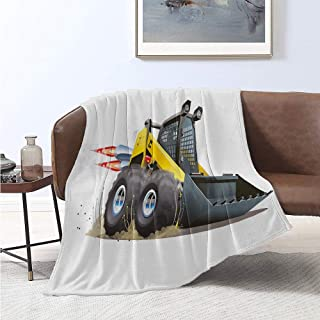 jecycleus Nursery Comfortable Large Blanket Cool Construction Vehicle Cartoon Bulldozer Skid Steer Nitro Speed Off Road Microfiber Blanket Bed Sofa or Travel W70 x L90 Inch Yellow