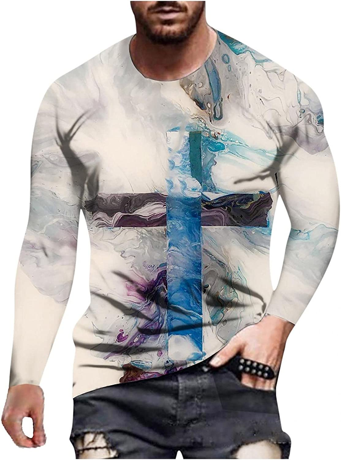 WUAI-Men Long Sleeve Workout T-Shirts Fashion Cross Printed Graphic Tee Slim Fit Christian Athletic Muscle Faith Tops