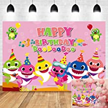 Pink Ocean Sea Themed Baby Shark Family Photography Backdrop Vinyl 7x5ft Girls Happy 1st Birthday Party Decoration Cartoon Cute Fish Photo Background Baby Shower Cake Table Supplies Photo Booth Props