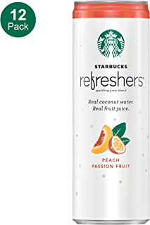 Starbucks, Refreshers with Cocounut Water, Peach Passion Fruit, 12 fl oz. cans (12 Pack) (Packaging May Vary)