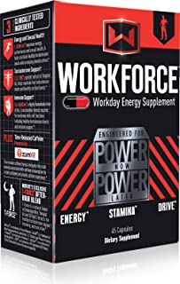 Mdrive Workforce - All Day Sustained Energy Booster for Men and Women, Extended Release Caffeine Pills, KSM-66 Ashwagandha, LJ100, ZumXr - No Crash or Jitters Energy, Stress Relief, 45 Capsules
