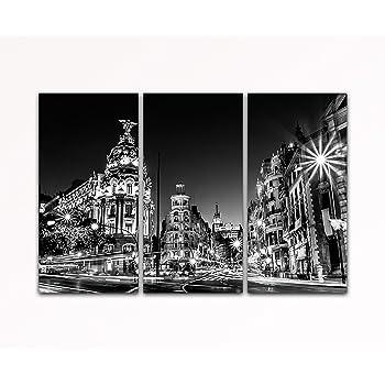 Su bilder24. de – Juego de pintura de pared de 3 gran via Madrid España Calle Negro/