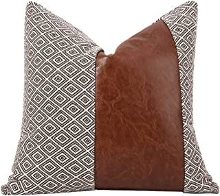 Merrycolor Farmhouse Throw Pillow Cover Faux Leather Pillow Case Boho Decorative Cushion Covers for Couch Modern Decor 18 ...