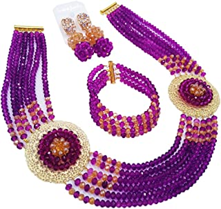 aczuv Nigerian Beads Jewelry Set African Necklaces for Women Crystal Bridal Wedding Jewelry Sets