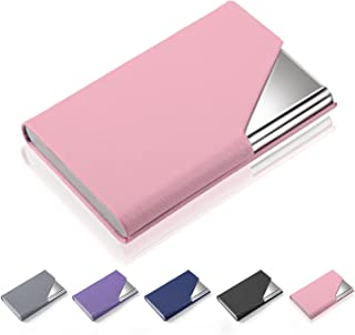 Business Card Holder Case, AHGXG Professional Slim Name Card Case Credit Card ID Holder PU Leather&Stainless Steel Metal Wallets with Magnet Shuts for Men&Women, Keep 20 Business Cards, Pink
