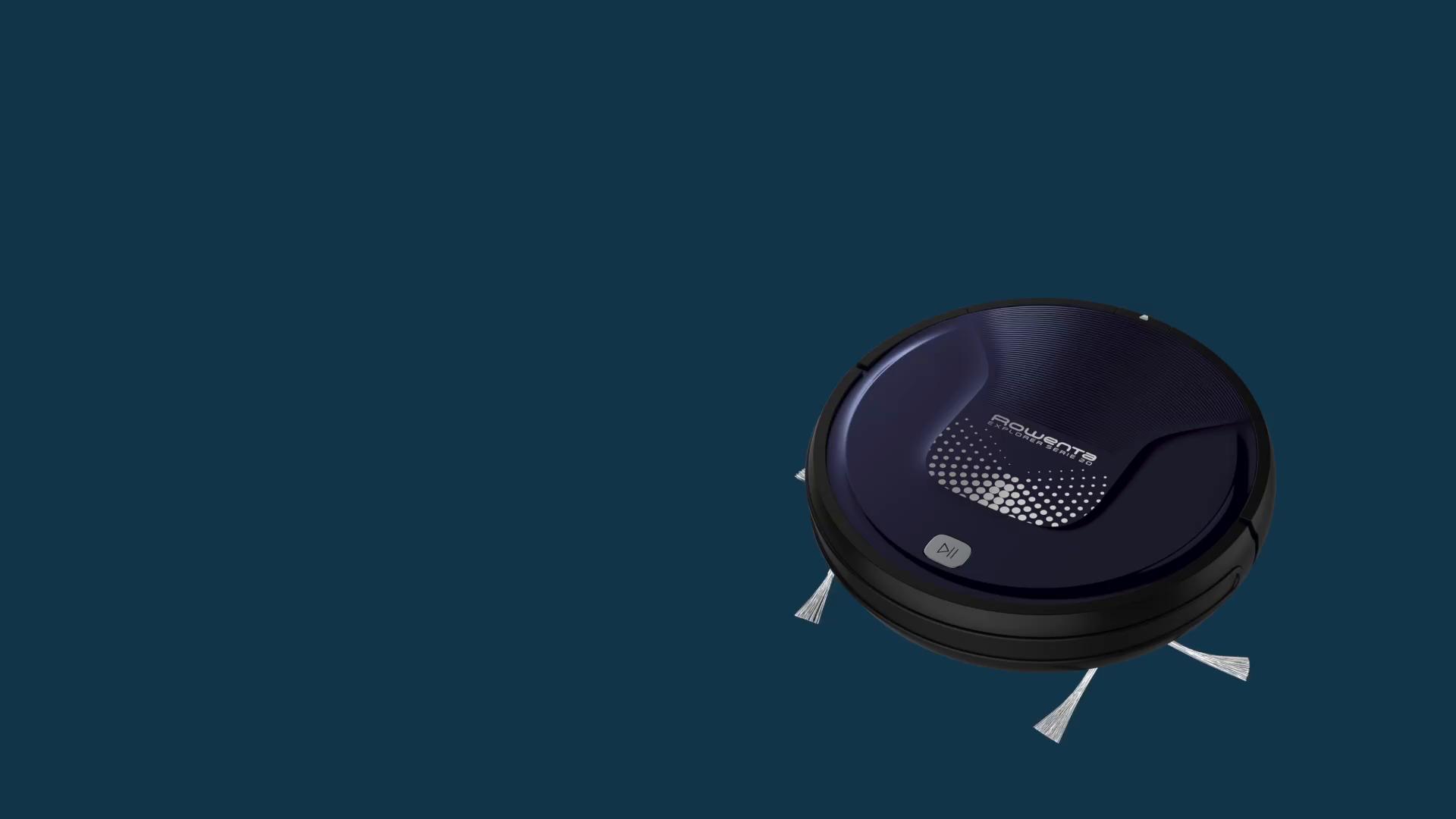 Rowenta RR6871WH Smart Force Explorer Aqua - Robot aspirador 2 en 1, aspira y friega, con sensores anticaída, bateria ion-litio de 150 minutos de autonomía, incluye mando a distancia y base de