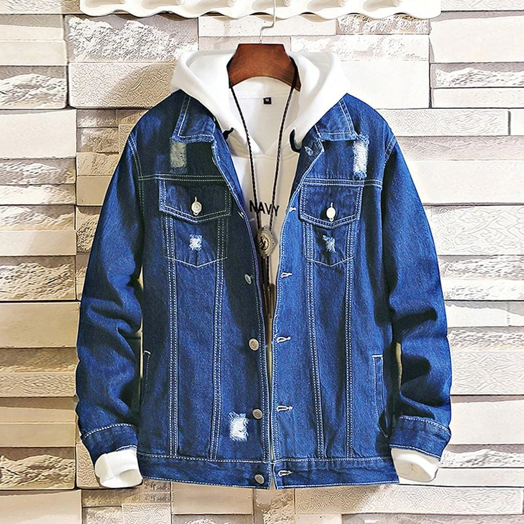 Beppter Mens Denim Jackets Classic Ripped Button Down Jeans Overcoats Tops Fashion Casual Slim Fit Outwear Blouse