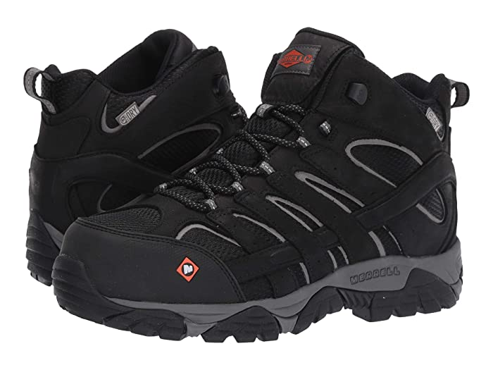 Merrell Work  Moab Vertex Mid Waterproof Composite Toe (Black) Mens Work Lace-up Boots