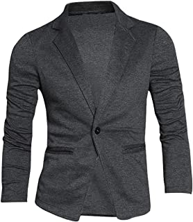 Uxcell Men's Casual Slim Fit Lightweight Button Closure Cardigan Blazer Sports Coat W Pockets One Button Dark Gray M (UK 40)