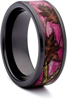 Pink Camo Wedding Rings by #1 CAMO - Pink Camo Promise Ring for Women - Camo Engagement Ring - Black Ceramic