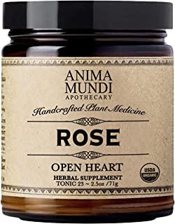 Anima Mundi Rose Petal Powder - Organic 'Open Heart' & Mood Support Rose Powder for Teas, Lattes & Water (2.5oz / 71g)