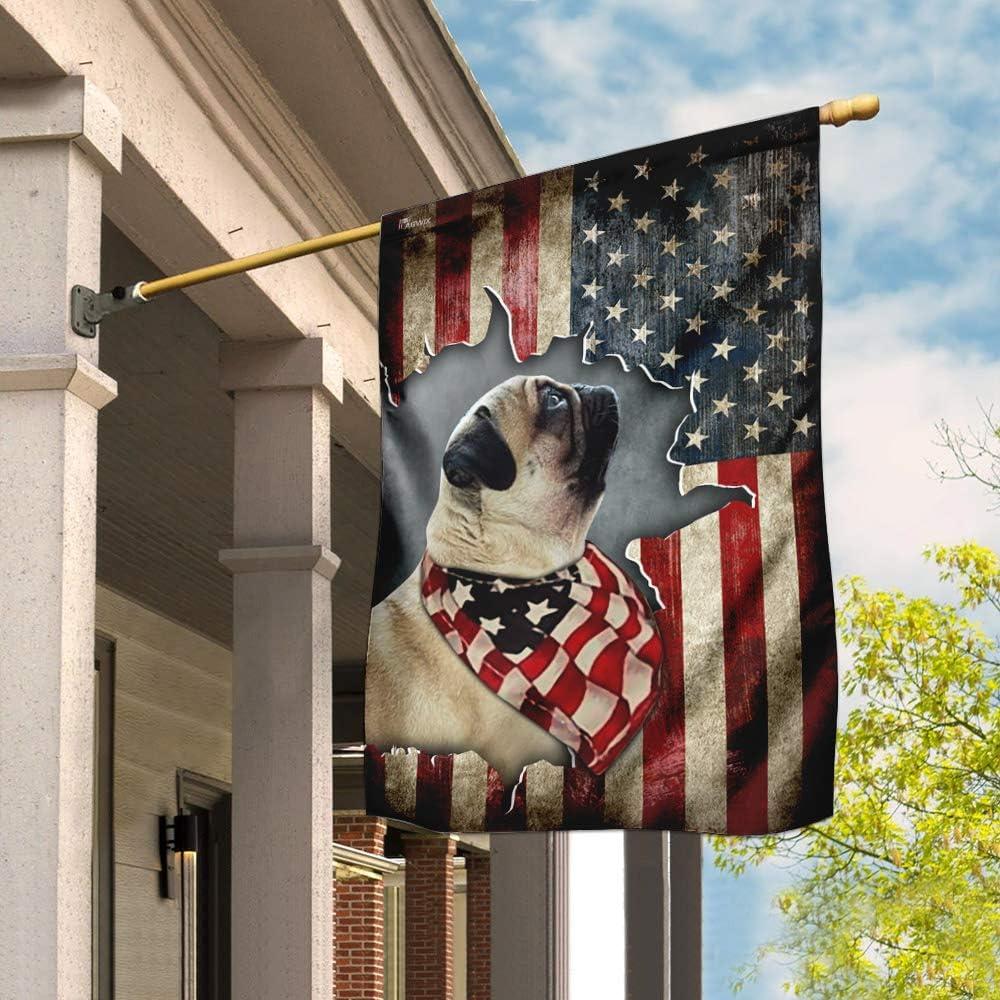 Flags-Pug Happy 4th of 与え July. American Flag Fl ◆在庫限り◆ THN2158F US House