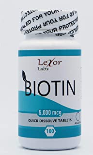 Lexor Labs Biotin Quick Dissolve Tablets - Healthy Hair Skin & Nails Vitamins - 5000 Mcg, 100Count