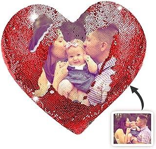 Kiko-ershaa Cojín Personalizado Foto Lentejuelas Almohada Forma de Corazón Almohada Personalizada con Estampado fotográfico Magic Reveal para Regalo