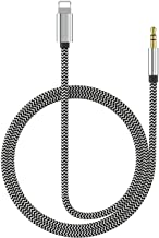 (Apple MFI Certified) Aux Cord for iPhone Xs XR X 8 7 Plus, Lightning to 3.5 mm Headphone Jack Adapter Aux Cable for Car Support iOS 11 12(White&Black)