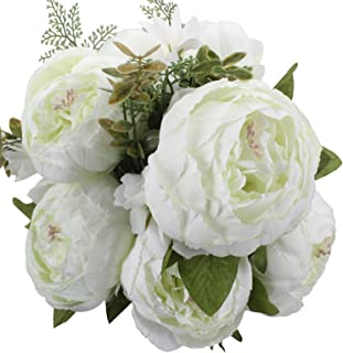 Duovlo Springs Flowers Artificial Silk Peony Bouquets Wedding Home Decoration,Pack of 1 (Spring White)