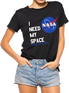 Nlife Women Fashion I Need My Space Shirt NASA Shirt Women NASA T Shirt Short Sleeve Tee