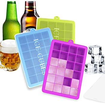 Ozera 3 Pack Silicone Ice Cube Trays with Lids, 24 Cavities Ice Cube Tray Molds for Cocktail, Whiskey, Candy, Chocolate and More