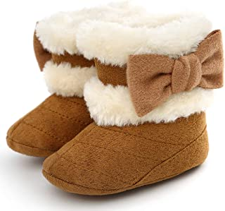 LiveBeauty Baby Boy Girl Winter Snow Boots,Cotton Anti-Skid Sole Bow Warm Infant Toddler Prewalker Booties Crib Shoes for Girls Boys