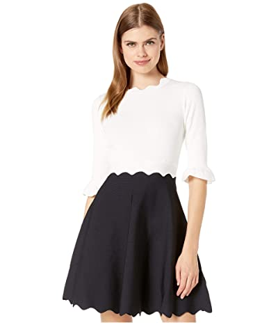 Ted Baker Lauron Sleeve Detail Knitted Skater Dress (Dark Blue) Women