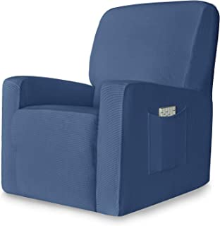 CHUN YI 1-Piece Stretch Spandex Jacquard Recliner Chair Slipcovers Sofa Covers Recliner Cover Coat Furniture Protector with Elastic Bottom Side Pocket Fit for Living Room (Recliner Chair, Denim Blue)