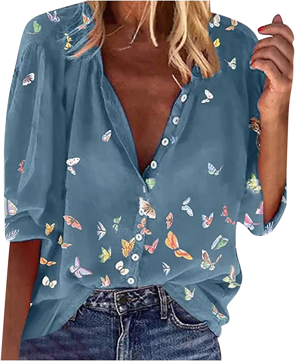 Womens Tops O Neck Shirts Butterfly Graphic Print Blouse Long Sleeve T Shirt Button Down Tunic Casual Pullover Tees