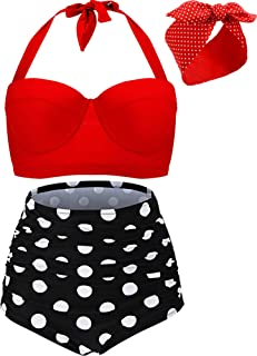 Best polka dot high waisted swimsuits Reviews