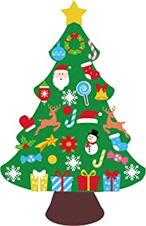 jollylife 3ft DIY Felt Christmas Tree Set - Xmas Decorations Wall Hanging 32 Ornaments Kids Gifts Party Supplies