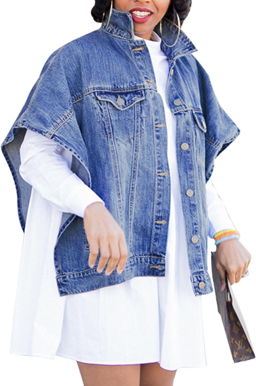 Sexyshine Women's Fashion Denim Jacket Loose Cloak Coat Jacket Washed Destroyed Denim Jackets Poncho Cape