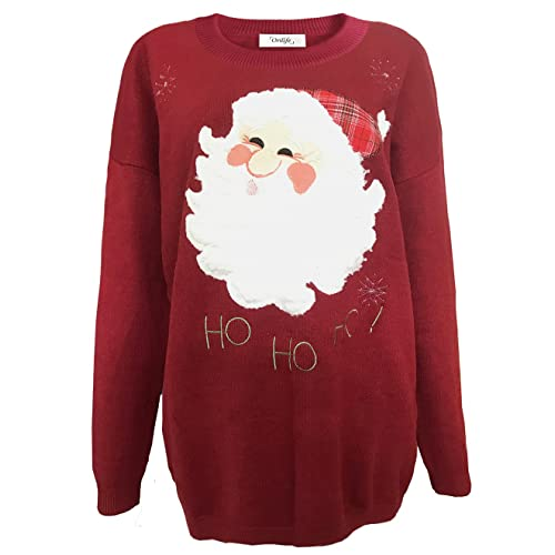 27f69eefb7 Orilife Women s Loose Father Christmas Knitted Pullover Sweaters