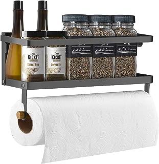Fridge Spice Rack & Magnetic Paper Towel Holder Refrigerator Spice Organizer Magnet Shelf, Black